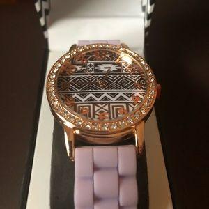 Purple bejeweled Aztec watch